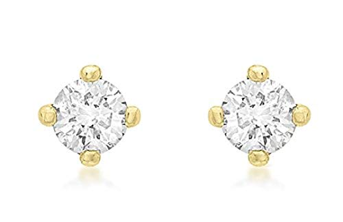Carissima Gold Women's 9 ct Yellow Gold 0.25 ct Diamond 3 mm Solitaire Stud Earrings