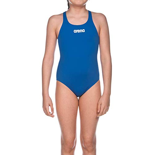 Arena G Solid Swim PRO Jr, Costume Sportivo Bambina, Blu (Royal/White), 4-5 anni