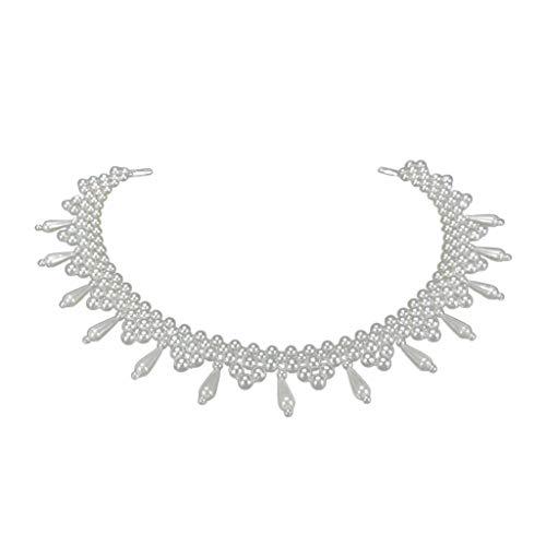 Collar étnico grueso tejido collar ondulado de perlas de imitación con colgante de gargantilla para manualidades, collar corto falso para mujer