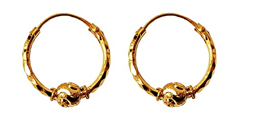 Sólido de 18 quilates genuino Diseño aros de oro Nueva perla individual (18 quilates) Fino