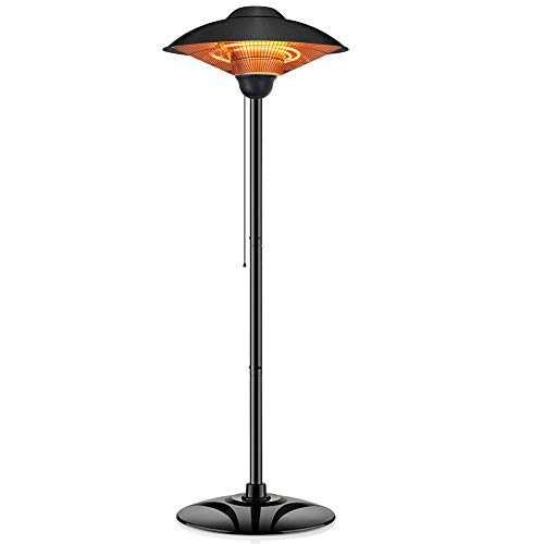 PATIOBOSS Outdoor Patio Heater, Free Standing Infrared Heater, with Pull Line Switch Control, Water-resistant, Tip-Over Protection, for Garage, Backyard (Black)