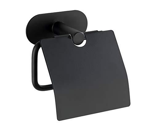 WENKO Turbo-Loc® Edelstahl Toilettenpapierhalter mit Deckel Orea Black Matt - WC-Rollenhalter, Befestigen ohne bohren, Edelstahl rostfrei, 14 x 12.5 x 7 cm, Schwarz