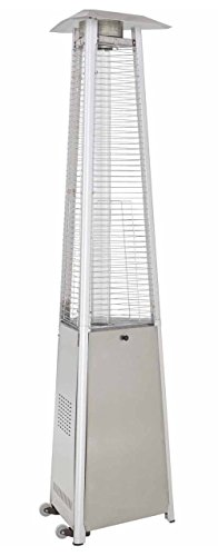 True Commercial Stainless Steel 3-Sided Pyramid Style Quartz Tube Patio Heater with Wheels (LP) Propane