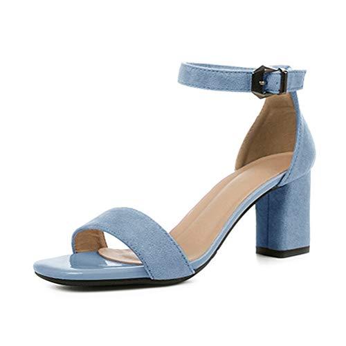 Minetom Damen Sandaletten High Heels Pumps mit Blockabsatz Hoher Absatz Sexy Offene Zehen Knöchelriemen Abend Party Sandalen B Blau 40 EU