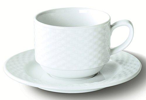 Visiodirect Lot DE 6 Tasses et sous Tasses The Dejeuner EMPLIABLES Polo Porcelaine Ø85 mm. 22cl.
