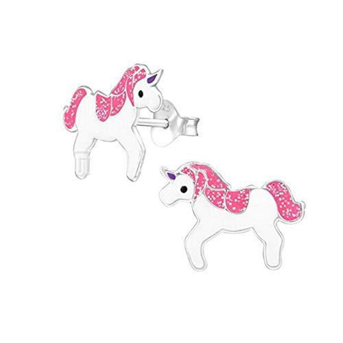 Aretes de unicornio para mujeres Chicas, Rosado Niña joyas oreja de unicornio Regalo Para el cumpleaños Partido Navidad con caja de regalo de terciopelo