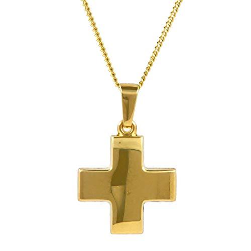 Anhänger Kreuz aus massiv 585-14 kt Gelbgold mit massiver Goldkette 1,1 mm 585-14 Karat Gold 55 cm