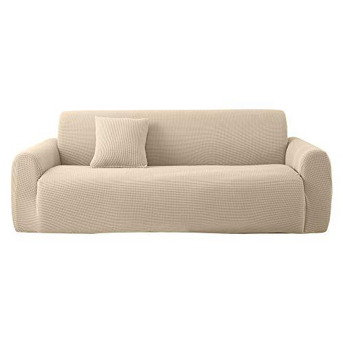 Saadiya Funda de sofá de 1, 2, 3, 4 plazas, funda elástica para sofá individual, protector de muebles para sofá, sofá, sofá, alta elasticidad con licra extraíble para el hogar (beige, 4 plazas)