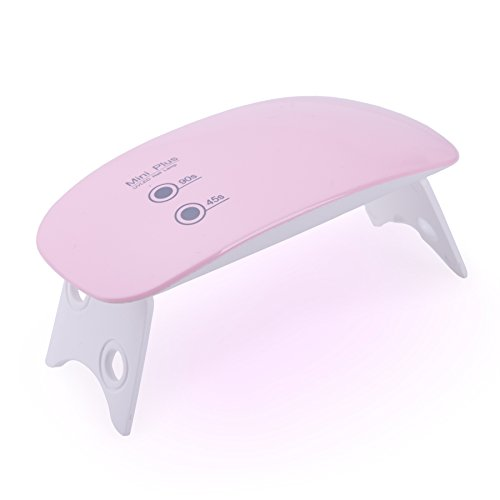 CO-Z 5W LED Nail Dryer Curing Lamp Light Portable for Gel Based Polishes Manicure Pedicure 2 Timing Setting 45s 90s USB Port (5W Small, Common - Pink)