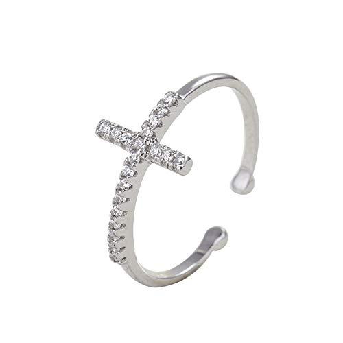 FJYOURIA Anillo de plata de ley 925 con circonita cúbica y diseño de cruz y anillo abierto para boda, promesa de eternidad para mujeres y mujeres