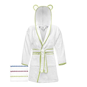 Lovely Hippo Children's Bathrobe 100% Cotton, Oeko-Tex Certified, No Chemicals products, French Design (Blanco y Verde, 5-6 años)