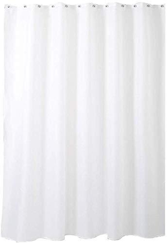 Bad wasserdicht Duschvorhang, reinweiß, Polyestergewebe, PU wasserdichte Schicht, schimmelfrei, leicht zu reinigen, Haken, Verschiedene Größen (Größe: 200 * 200CM)