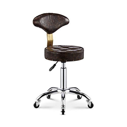 XJZHAN Sattel Beauty Salon Barhocker Faux PU Leder Mit Rückenlehne Swivel Hydraulic Gas Lift Chair,Color3