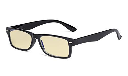 Eyekepper UV-bescherming, verblindingsbescherming, anti-blue rays, krasbestendige lens oranje getinte lenzen computer leesbrillen lezer vrouwen +1.25 Zwart frame-bb60 lens