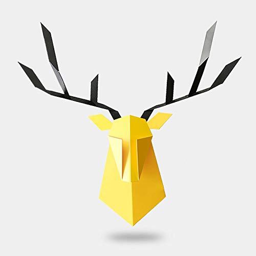 Dierenkop, hertenkop, decoratie, Nordic woonkamer, eetkamer, open haard wand, ijzer, creatieve persoonlijkheid, modern minimalistische hertenkop wandbehang