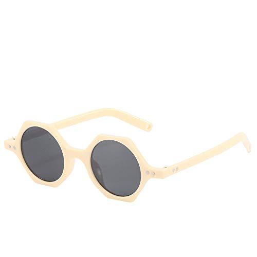SHANGYUN Hexagon Gafas de sol para mujer Retro Polígono Gafas de sol Moda Vintage Gafas de Hombre UV400 ivorywhitegrey