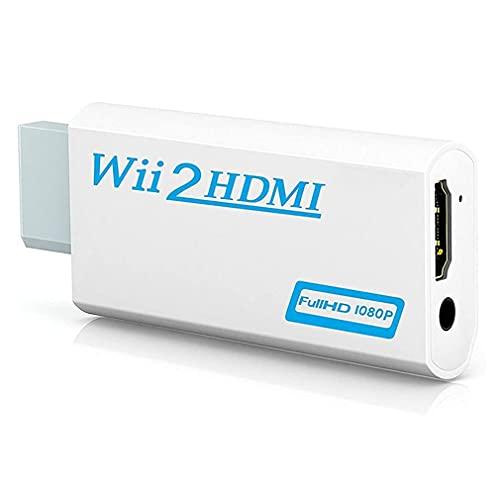 Wii a HDMI Adaptador 1080P 720P Wii 2 HDMI Convertidor 1080P / 720P Video con Jack de 3,5mm Audio Entrada y Salida, Soporta todos los modos de visualización Wii
