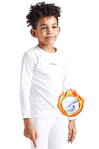 COOLOMG Kinder Thermohemd Thermoaktives Langarm Shirt Funktionswäsche Base Layer Warm Innenfleece Weiß M