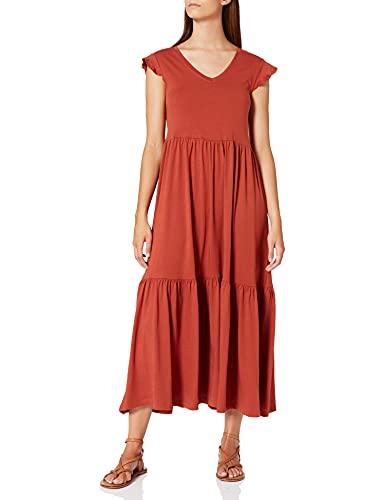 Only Damen ONLMAY LIFE S/S FRILL CALF DRESS JRS Kleid, Braun ( Arabian Spice), S
