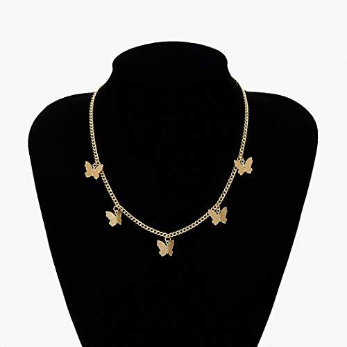 Jovono Boho Halsketten mit Single Layer Butterfly Anhänger Halskette Kragen für Frauen und Mädchen (Gold)