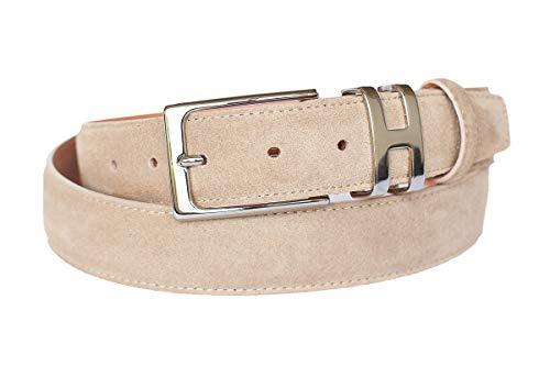 Handmacher Leder-Gürtel für Herren in Beige, Veloursleder, Länge 95 cm