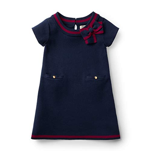 Hope & Henry Girls' Navy Milano Stitch Sweater Dress