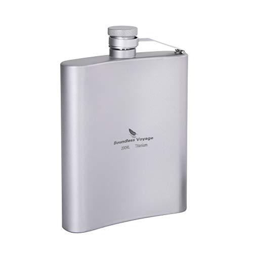 iBasingo 200ml Titanium Pocket Flagon Outdoor Sports Flat Liquor...
