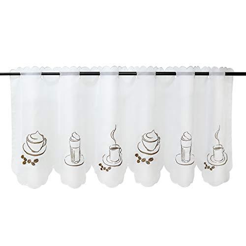 Heichkell Voile Kaffee-Motive Scheibengardine »Besseit« Gardine Küche Kurzstore Transparente Bistrogardine Weiß H*B 30 * 90cm