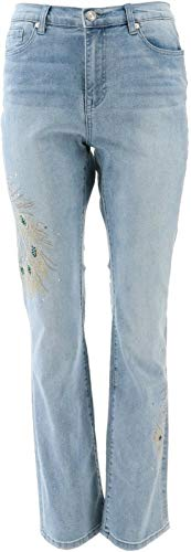 DG2 Diane Gilman Peacock Embellished Boot-Cut Jean Basic Chambray 6 New 697-759