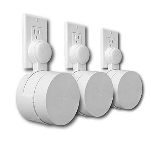 Google WiFi Outlet Holder Mount: [New 2020 – Present Version – Round Plug] The Simplest Wall Mount Holder Stand Bracket for Google WiFi Routers and Beacons - No Messy Screws! (3-Pack)