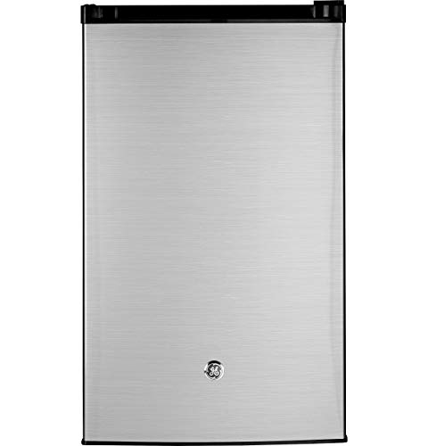 GE Mini Fridge, 4.4 Cu Ft, CleanSteel, GME04GLKLB Built-in or Freestanding Compact Refrigerator, Clean Steel