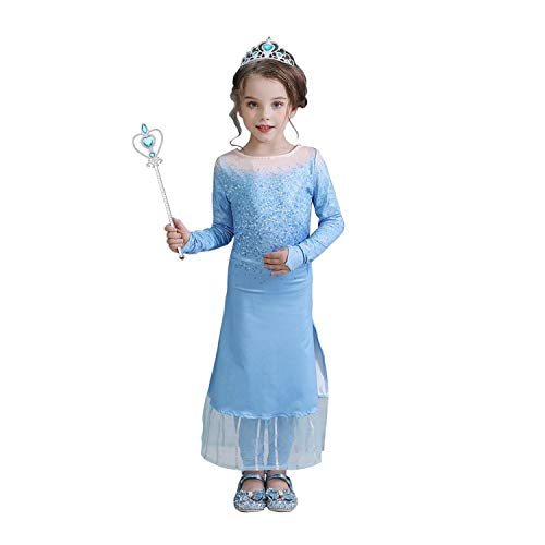 URAQT Mädchen Kostüm ELSA Kleid Eisprinzessin, ELSA Kostüm für Kinder mit Hose, Prinzessin Krone und Zepter, Eiskönigin Kostüm für Halloween, Geburtstag, Familientreffen - Größe 110cm