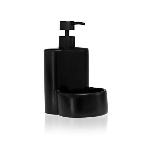 Kook Time Dispensador de Jabón Líquido de Cerámica Mate para Cocina con Hueco para Estropajo, 10 x 11.5 x 8 cm. (Negro)