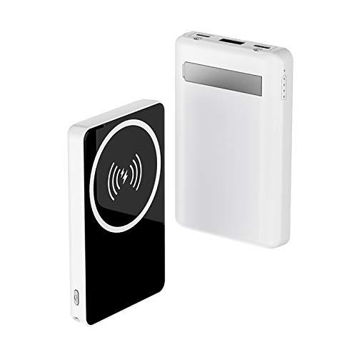 Banco de Energía Inalámbrico Magnético Mag-Safe Wireless Power Bank 8000mAh - Configure La Luz Fuerte LED y el Soporte, Batería Externa Compatible con Smartphone Iphone Serie 12 (Blanco)