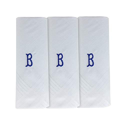 Pack de 3 Mouchoirs Pour Homme Blanc Avec 1 Lettre Initiale du Nom, B