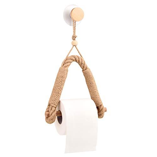 Toilettenpapierhalter ohne Bohre,Qeekzeel Toilettenpapierrollenhalter Vintage Handtuchhalter Holz Klopapierhalter für WC Badezimmer Küche