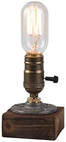 ZFFSC E27 Vintage houten blokken tafellamp bureaulamp voor cafe bar studio nachtlampje voor nacht 9