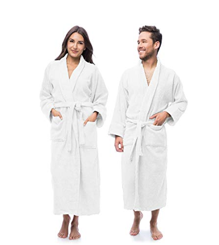 Eco Linen Luxury Bathrobe Towel, Spa Robe Combed Terry Cotton Organic Cloth for Men Women, Cotton Lightweight, Unisex White