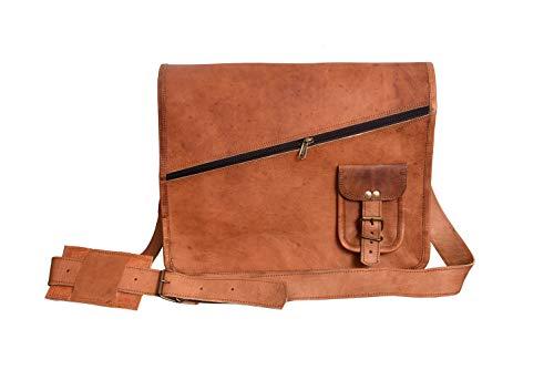 LLB Leather Arts 15 inch Vintage Messenger Notebook Shoulder Crossbody Laptop Bag for Men Women Brown Handbag Goat Leather Unisex 046