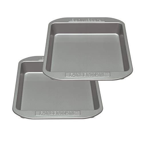Farberware Nonstick Bakeware Baking Pan Set / Nonstick Cake Pan Set, Square - 2 Piece, Gray