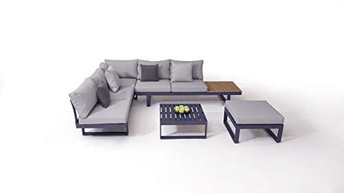 talfa Garten Lounge Aluminium Gartenmöbel Sitzgruppe in Anthrazit mit Polstern in Grau - Sitzgruppe Big Sami