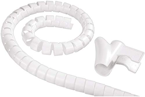 Hama Tube pour câbles (faisceau de câbles, forme en spirale, longueur 1,5 mètres, diamètre 30 mm) Blanc