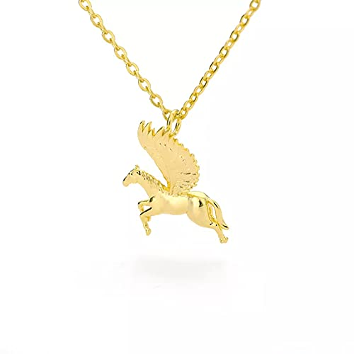 Collar Colgante Collar de Pegaso Dorado para Mujeres y Hombres Cadena de Acero Inoxidable alas de ángel Collares con Colgante de Cuello de Caballo Volador joyería de Moda Collar Amistad Regalo