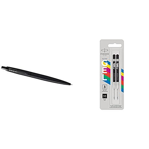 Parker Jotter XL bolígrafo | negro mate monochrome | punta mediana + Parker Jotter Originals recambios de tinta de gel | Recambios de tinta de gel negra | punta mediana | 2 unidades