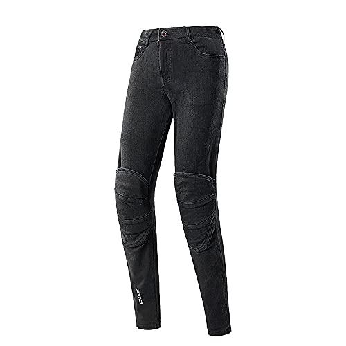 Scoyco Pantalones de moto para mujer, transpirables, para verano, para motociclistas, motocross, equitación, con equipo de protección CE en las rodillas., Negro , M