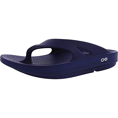 OOFOS Unisex Original Thong flip flop , Navy, 12 M US Women / 10 M US Men's