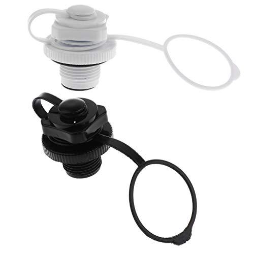 HDHUIXS Sumiso Pack 4 Inflable de la válvula, la Rosca de Tornillo de Aire Enchufe con Casquillos Compatible with el Barco Inflable de Goma del Bote Canoa del kajak Fresco (Color : Black)