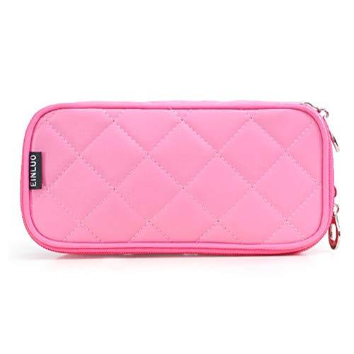 Mini sac cosmétique portable en nylon imperméable à l'eau multi-fonction demi-ouverte à deux couches grande capacité voyage Make Up Bag,1