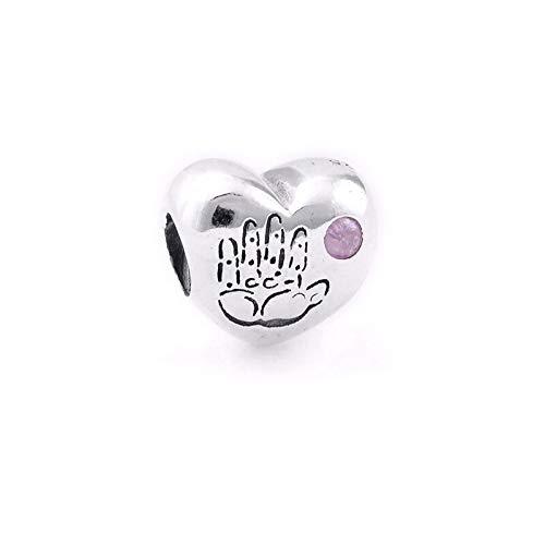 Pandora 925 plata esterlina colgante DIY auténtica plata esterlina perlas bebé niña rosa CZ corazón encantos se adapta a encantos únicos pulseras joyería trucos
