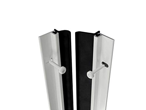 Heavy Duty Aluminium White Brush Around Door Seal Draught excluder Weather proofing by Stormguard. Size 4 ×1028 mm and 1 x 914 mm, Enough for one Single Door Opening